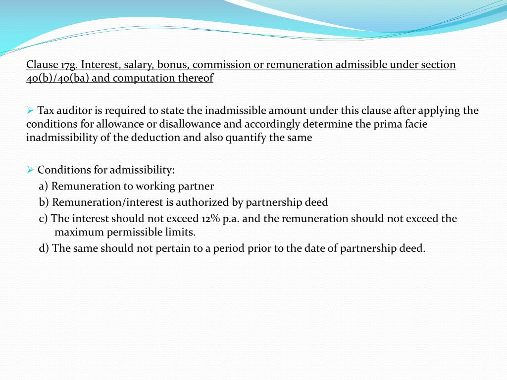 Clause 17g. Interest, salary, bonus, commission or remuneration admissible under section 40(b)/40(