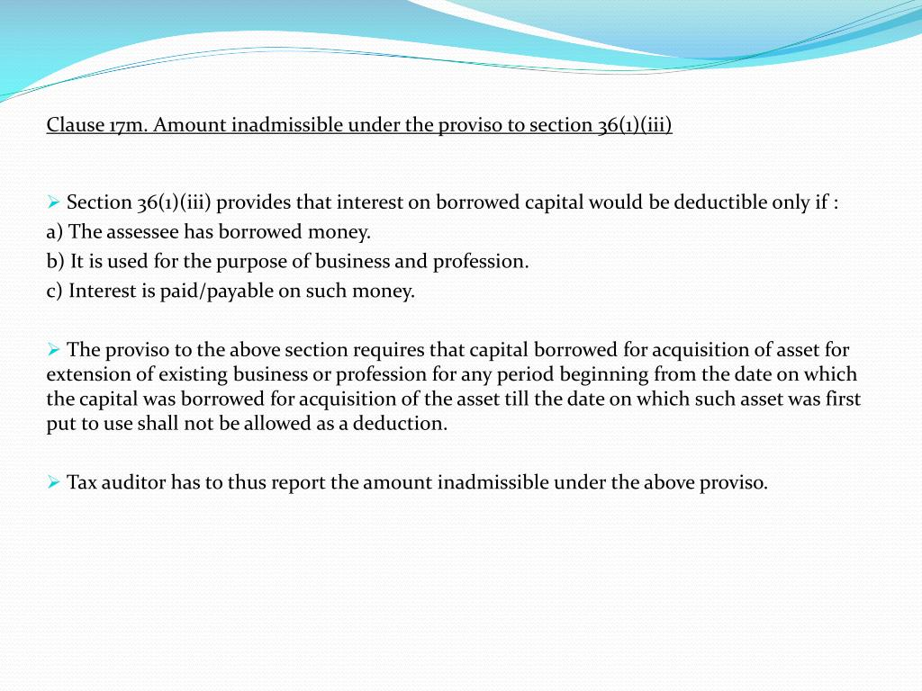 Clause 17m. Amount inadmissible under the proviso to section 36(1)(iii)