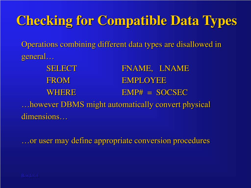 Checking for Compatible Data Types