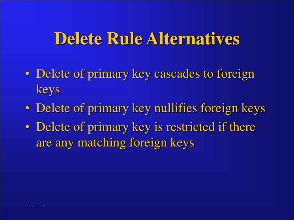 Delete Rule Alternatives