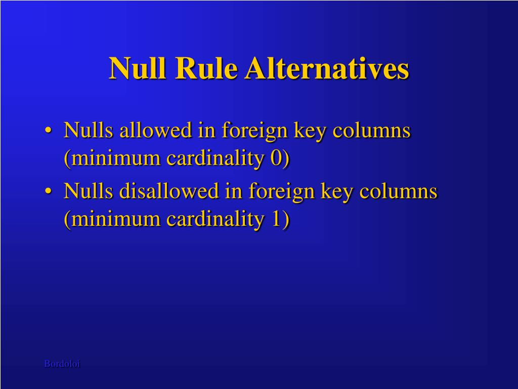 Null Rule Alternatives