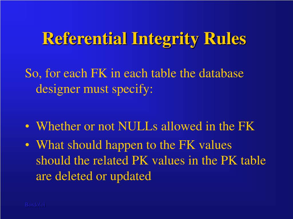 Referential Integrity Rules