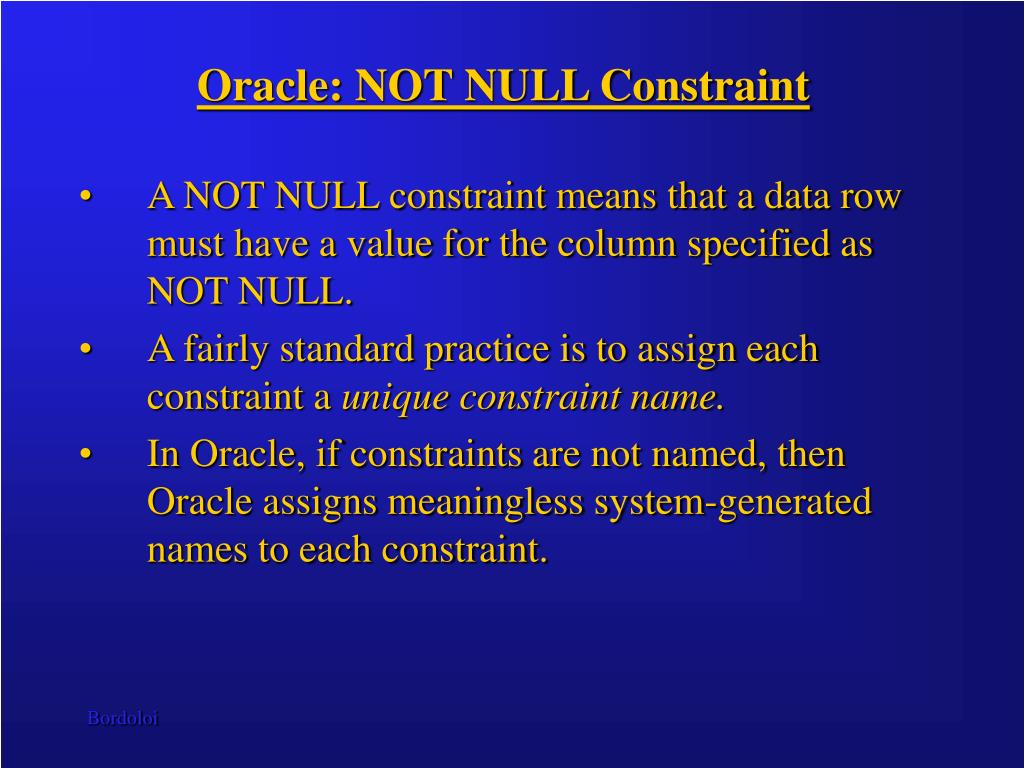 Oracle: NOT NULL Constraint