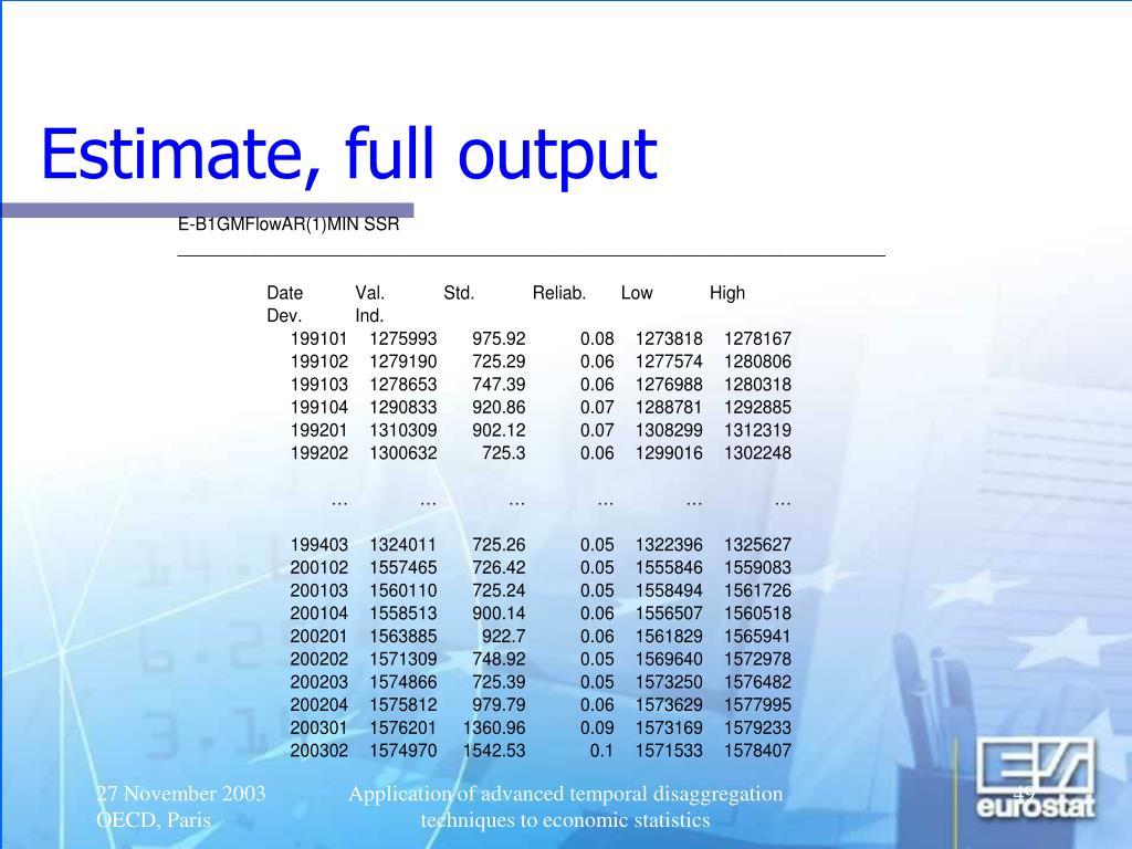 Estimate, full output