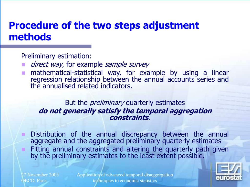 Procedure of the two steps adjustment methods