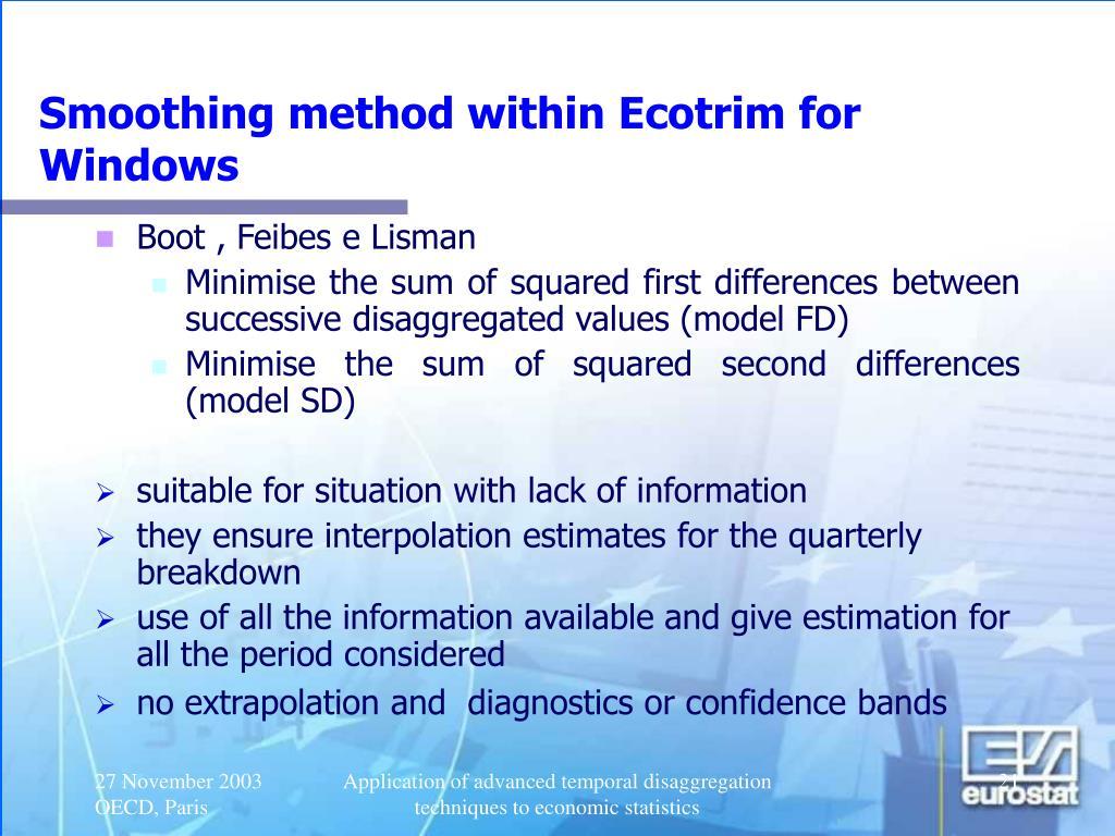 Smoothing method within Ecotrim for Windows