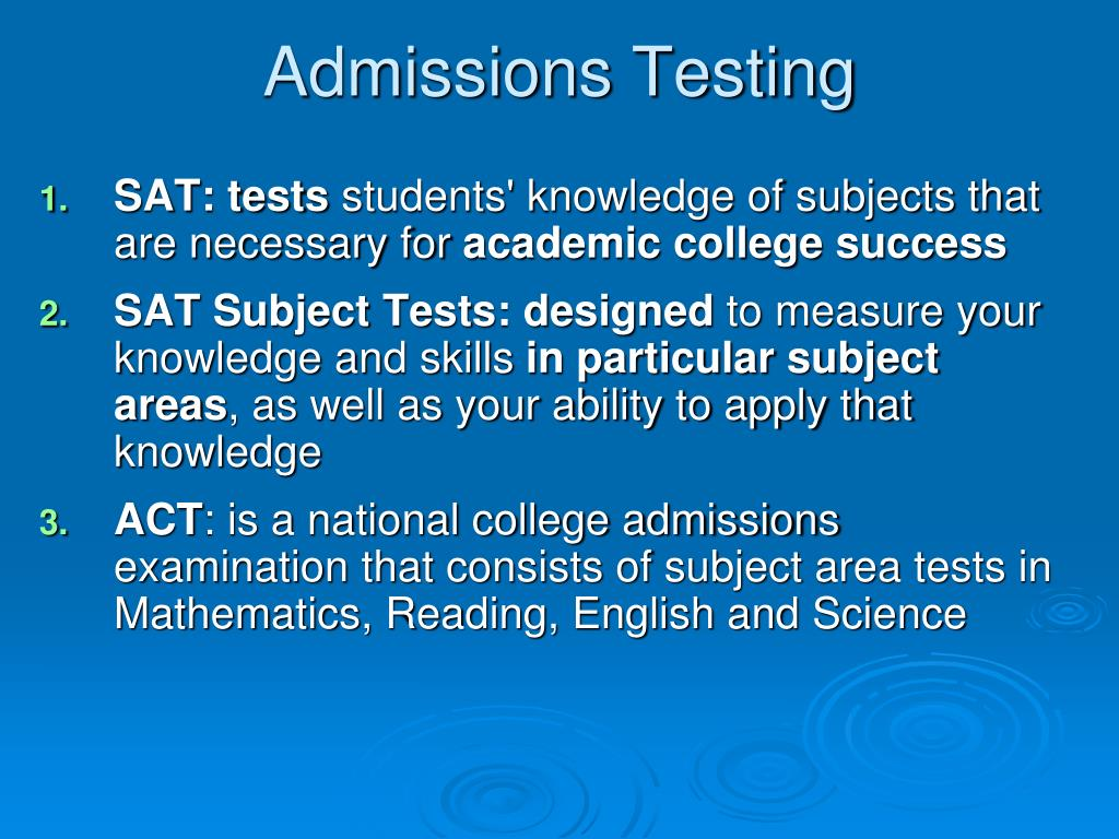 Admissions Testing