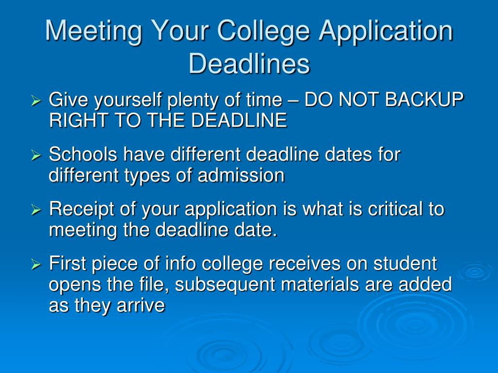 Meeting Your College Application Deadlines