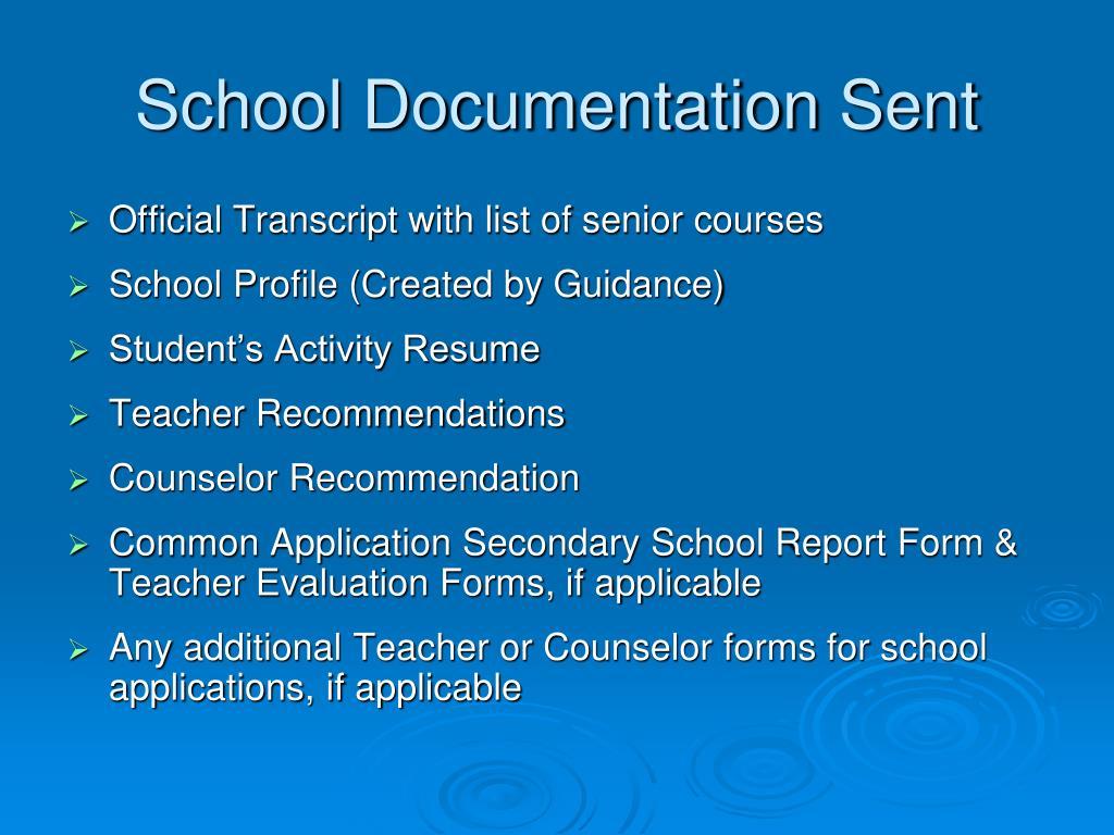 School Documentation Sent