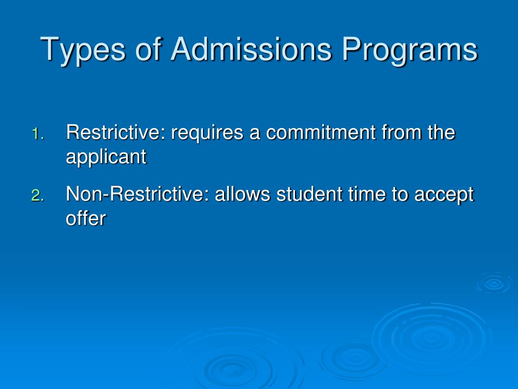 Types of Admissions Programs