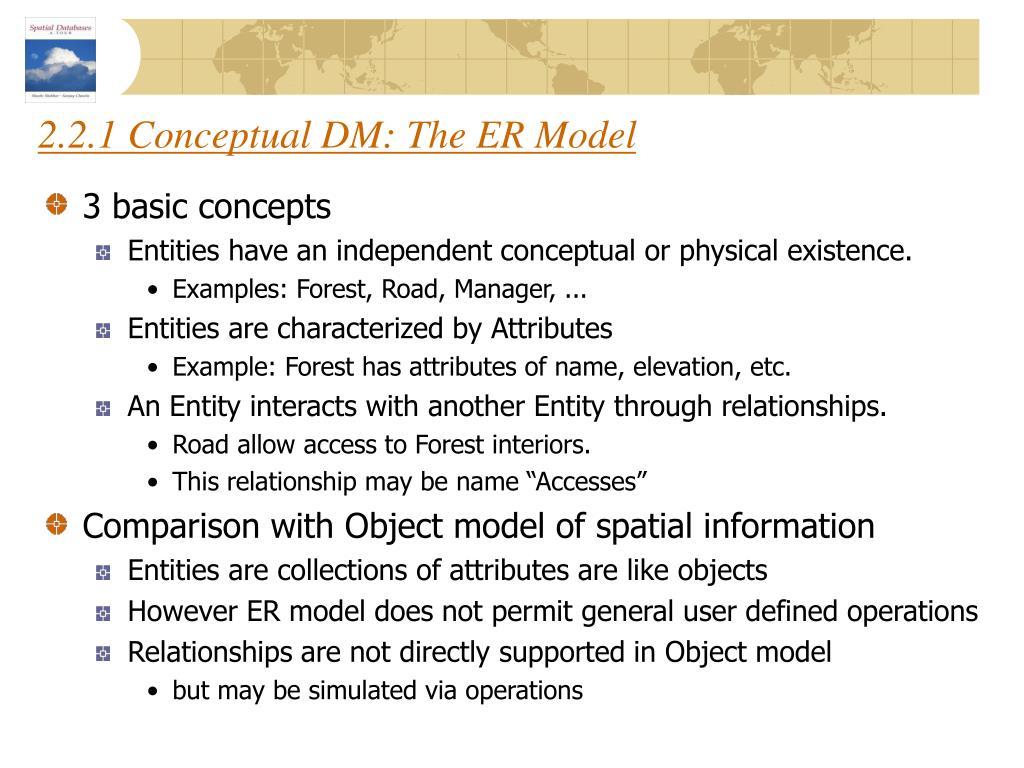2.2.1 Conceptual DM: The ER Model