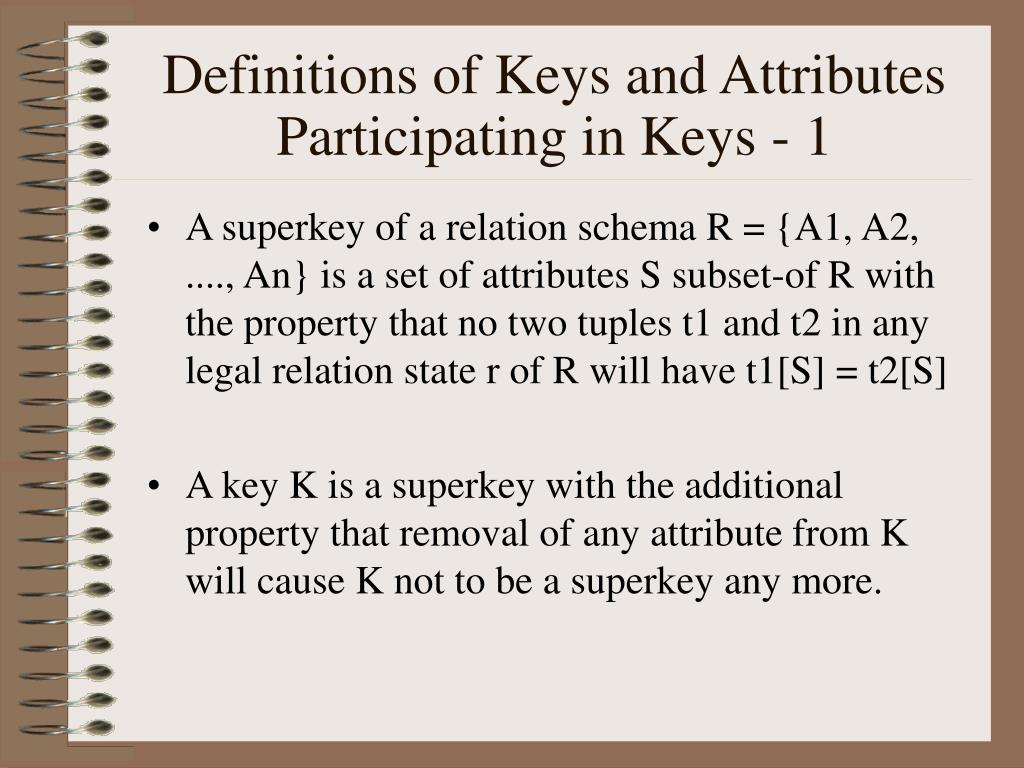 Definitions of Keys and Attributes Participating in Keys - 1