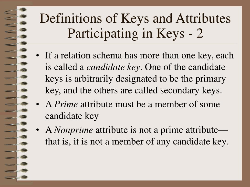 Definitions of Keys and Attributes Participating in Keys - 2