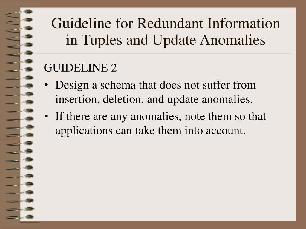 Guideline for Redundant Information in Tuples and Update Anomalies