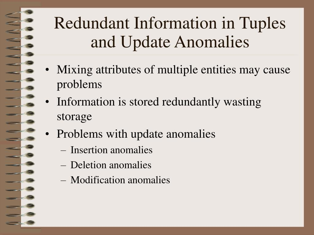 Redundant Information in Tuples and Update Anomalies