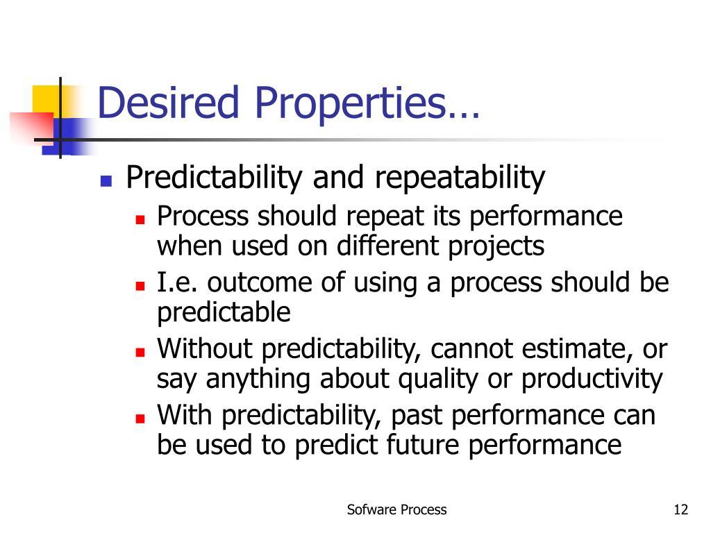 Desired Properties…