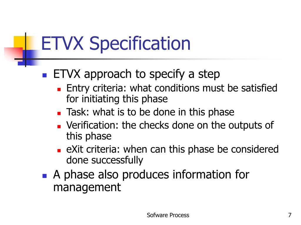 ETVX Specification