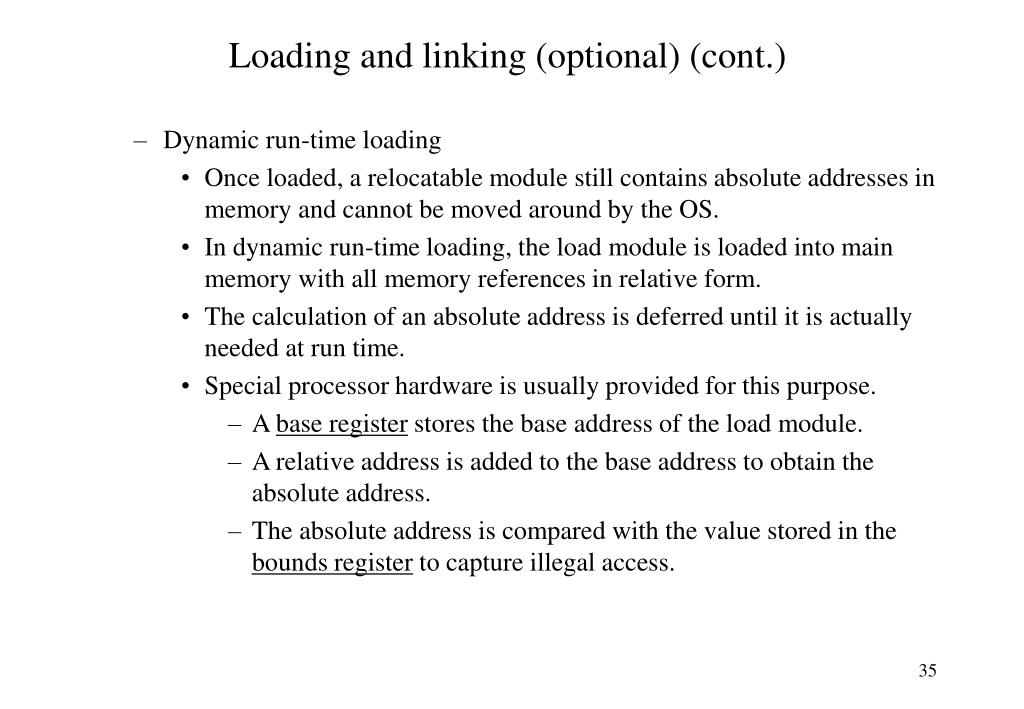 Loading and linking (optional) (cont.)