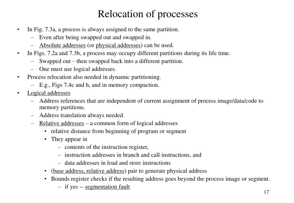 Relocation of processes