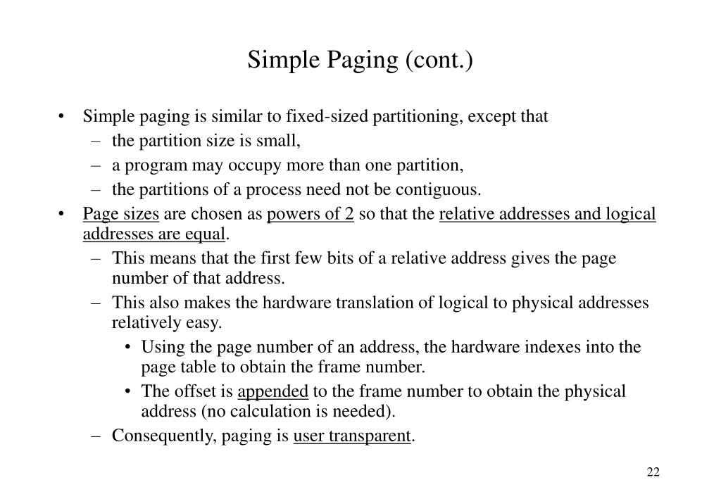Simple Paging (cont.)
