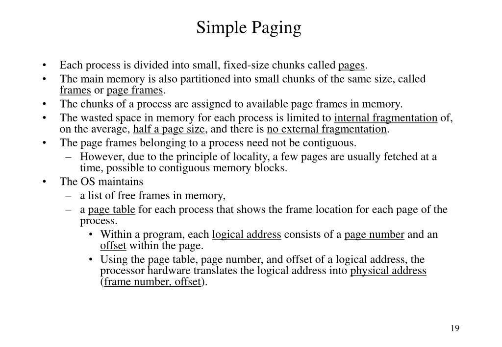 Simple Paging