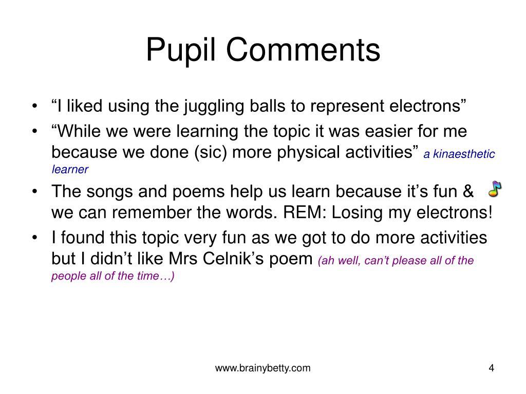 Pupil Comments