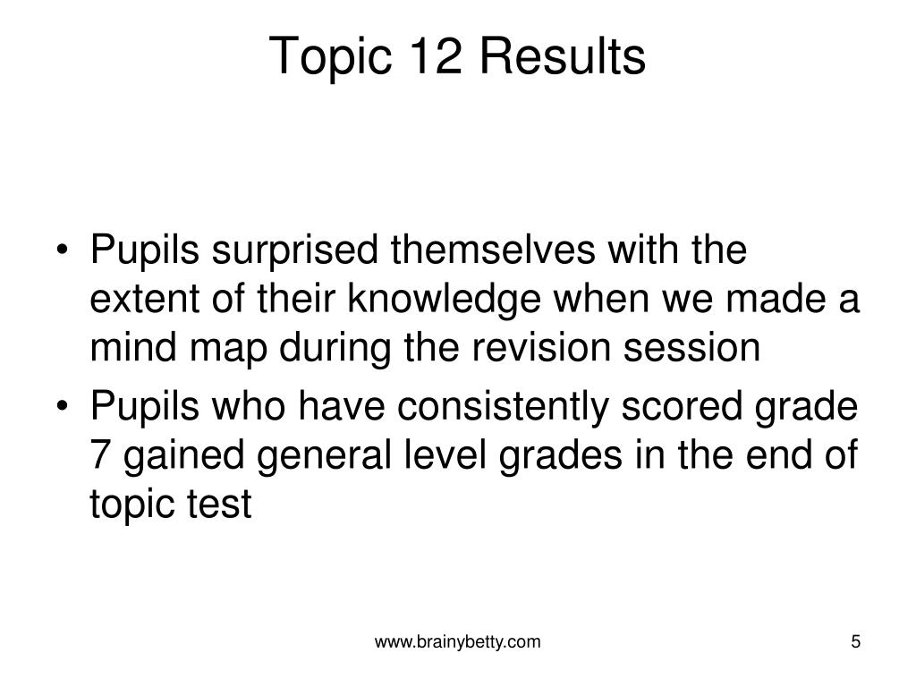 Topic 12 Results