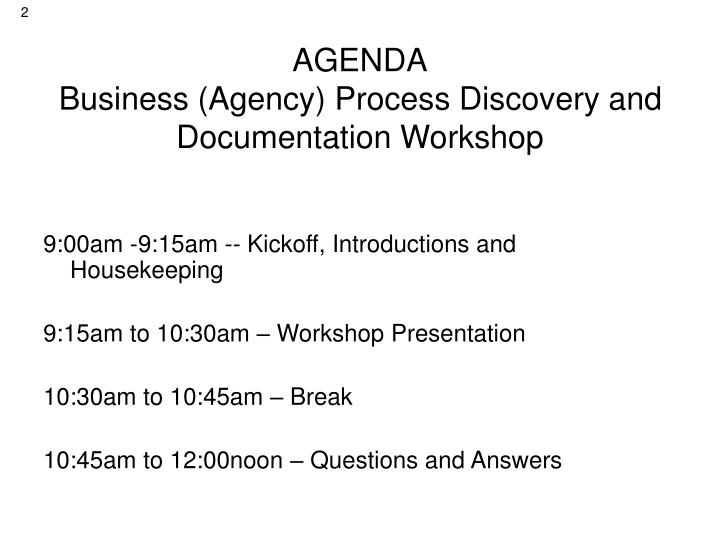 Agenda business agency process discovery and documentation workshop