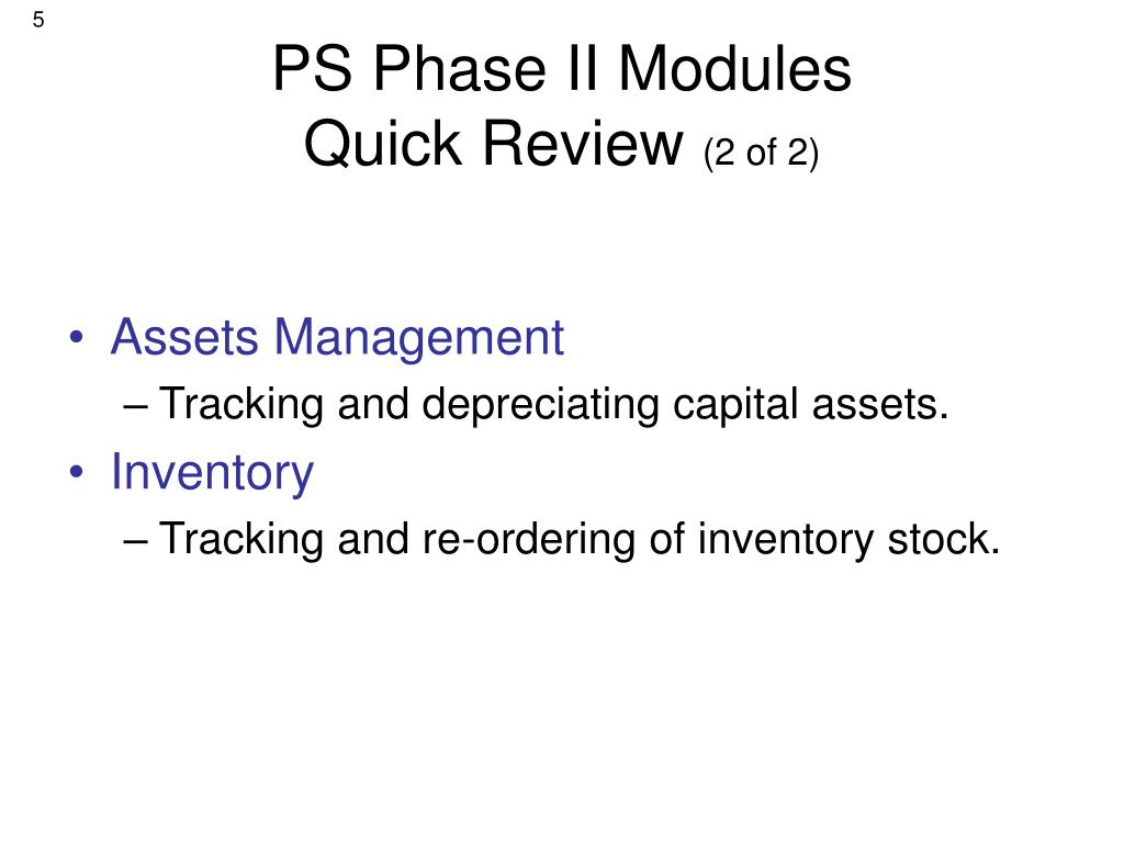PS Phase II Modules