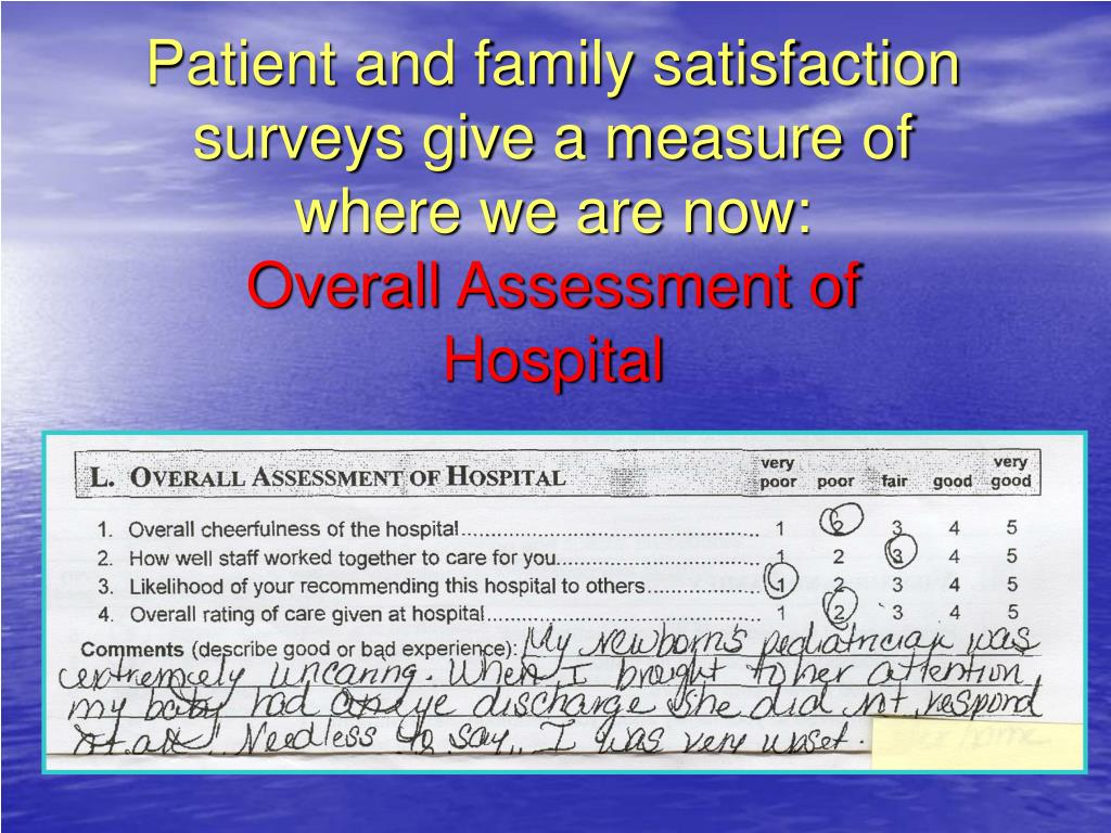 Patient and family satisfaction surveys give a measure of