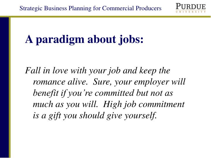 A paradigm about jobs