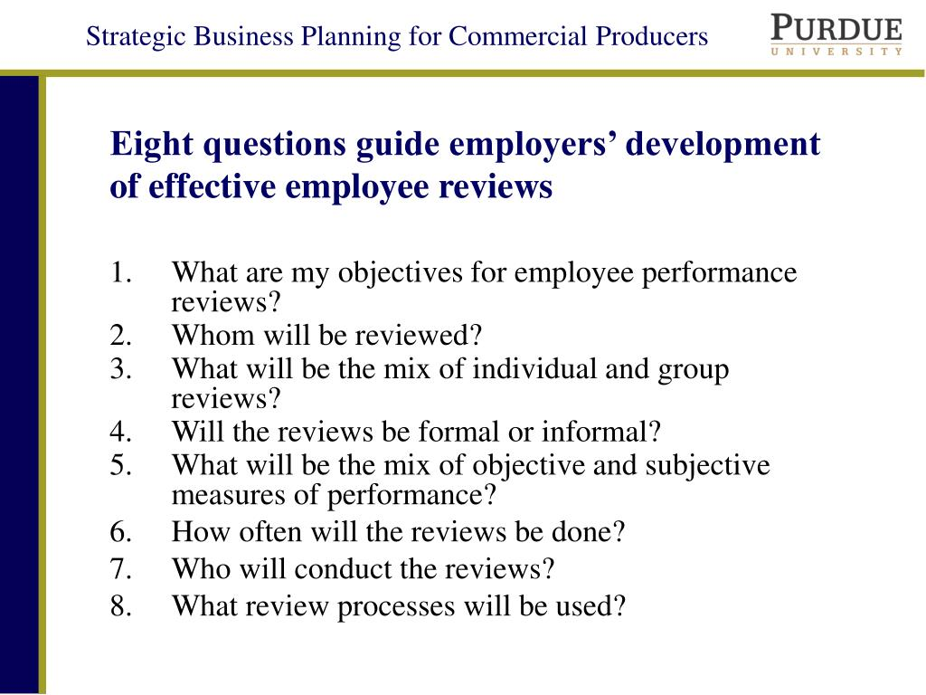 Eight questions guide employers' development of effective employee reviews