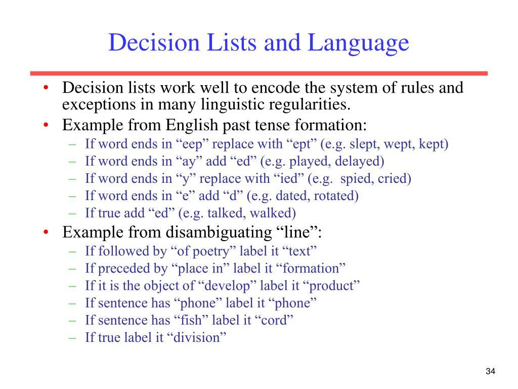 Decision Lists and Language