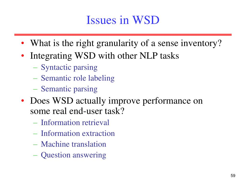 Issues in WSD