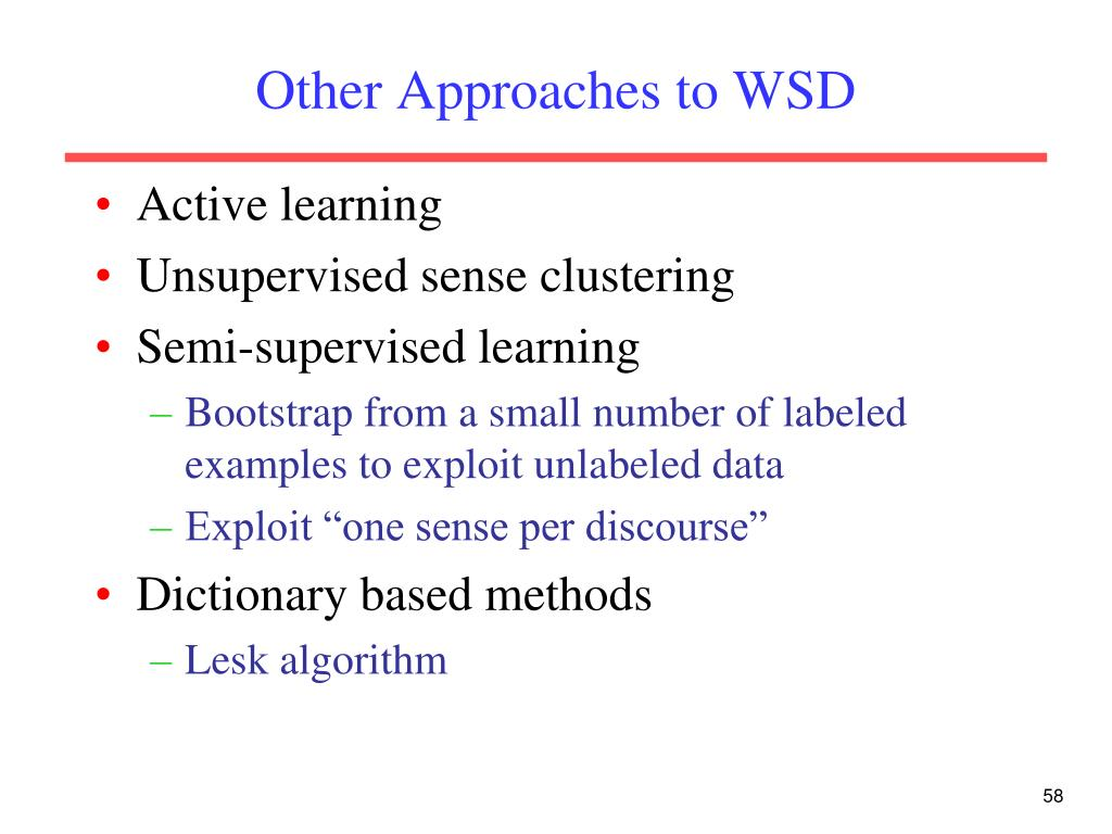 Other Approaches to WSD