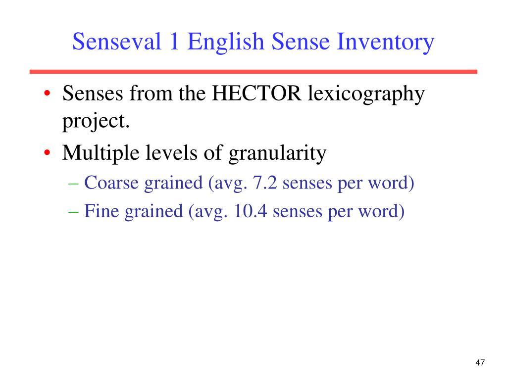 Senseval 1 English Sense Inventory