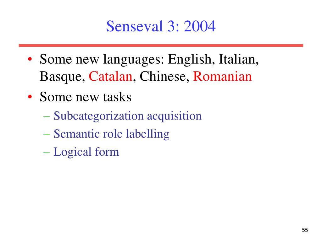 Senseval 3: 2004