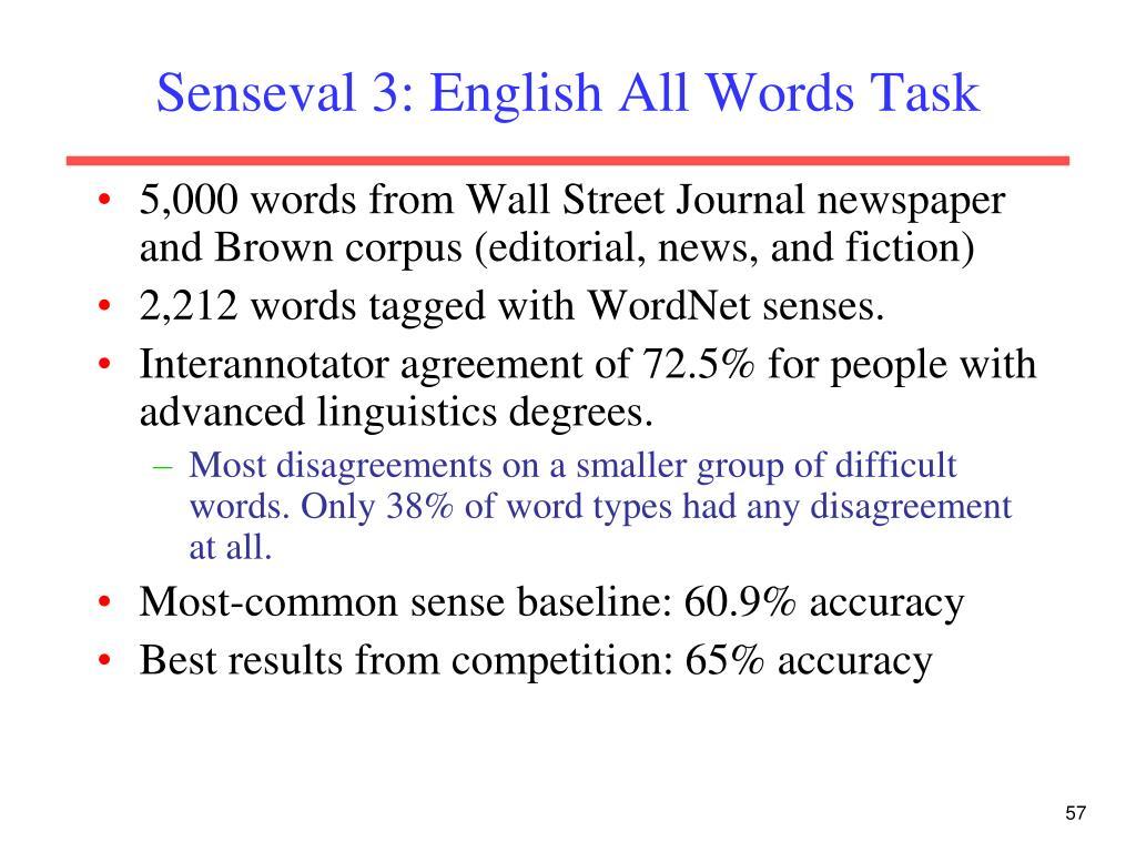 Senseval 3: English All Words Task
