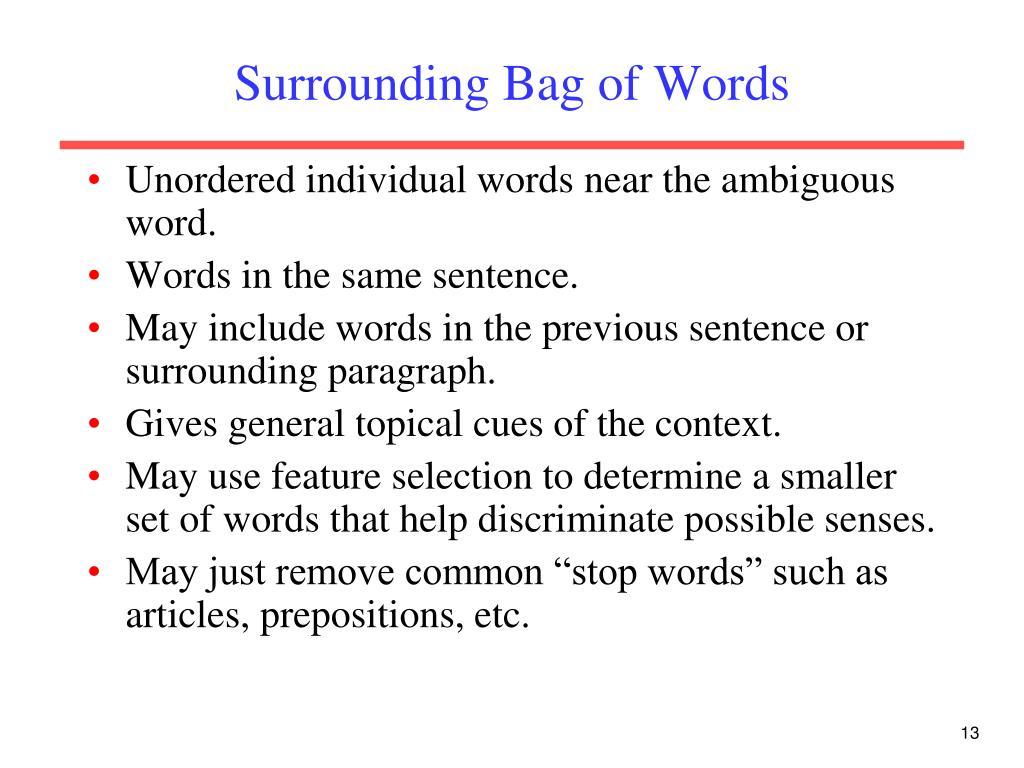 Surrounding Bag of Words