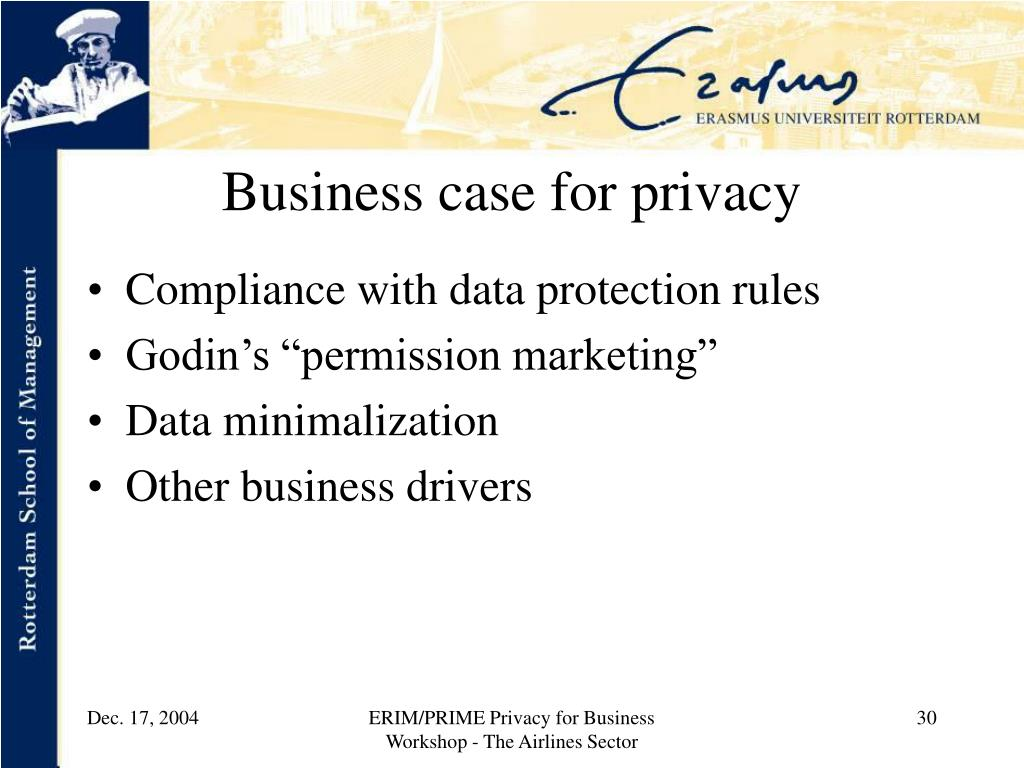 Business case for privacy