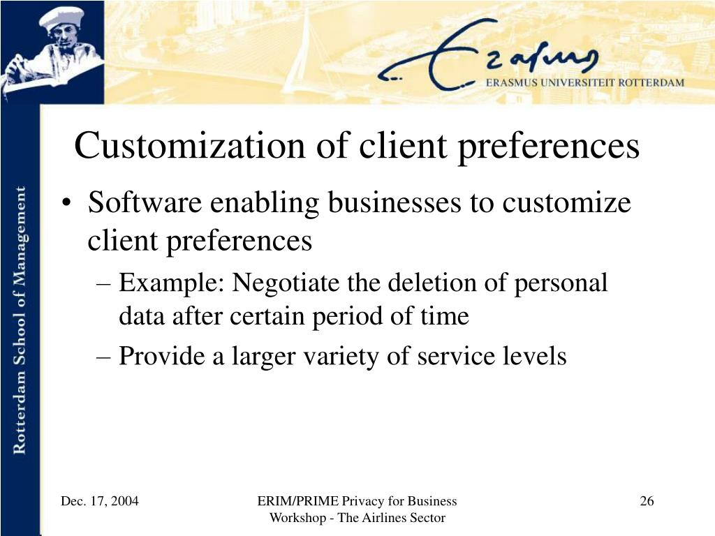 Customization of client preferences
