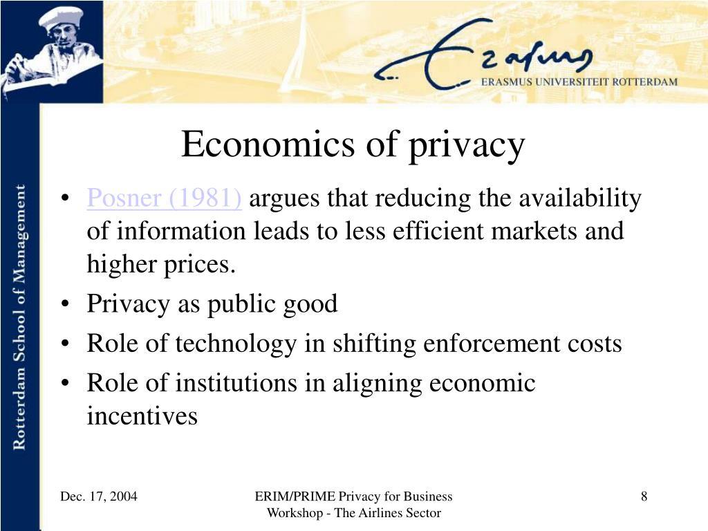 Economics of privacy