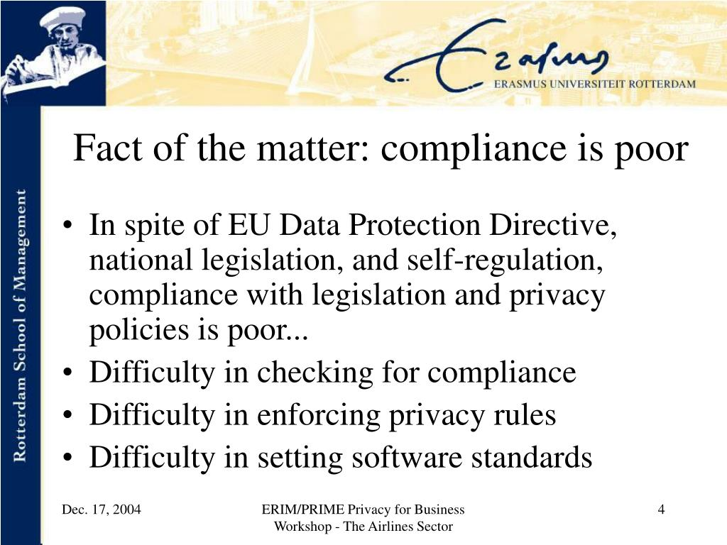 Fact of the matter: compliance is poor