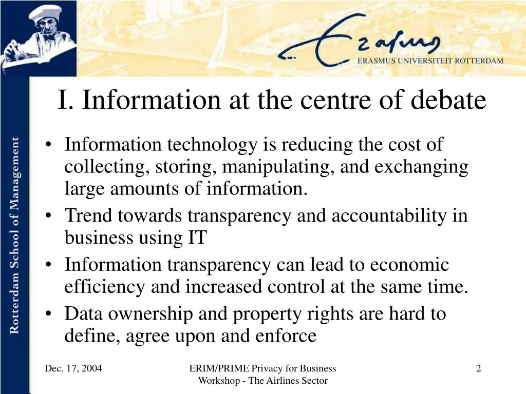 I. Information at the centre of debate