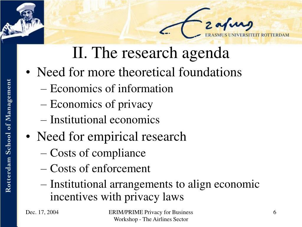 II. The research agenda