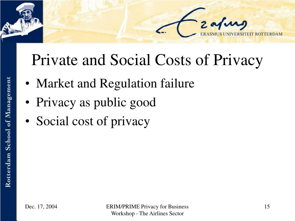 Private and Social Costs of Privacy
