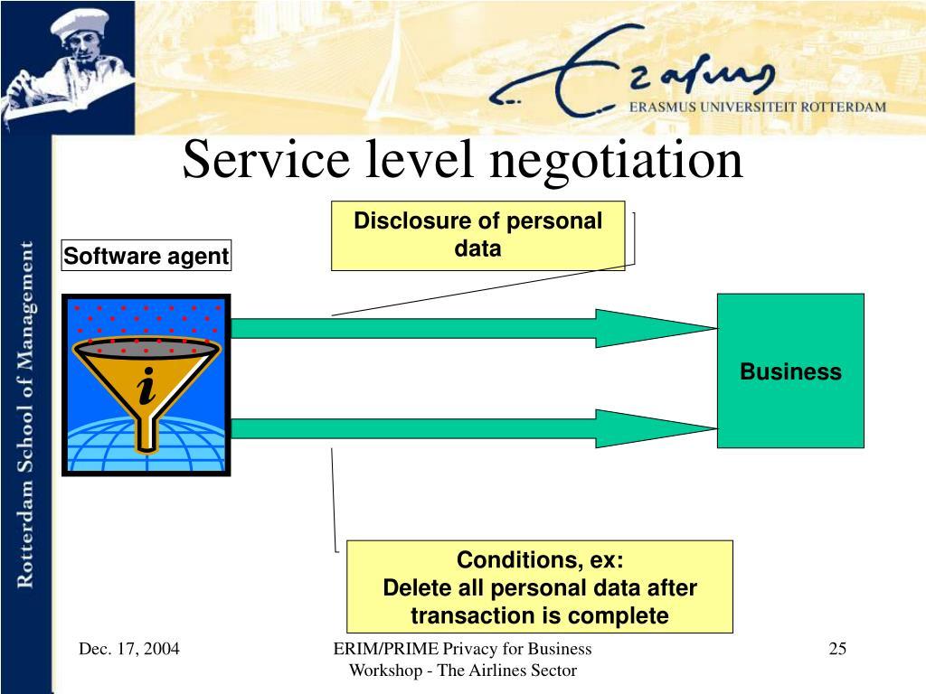 Service level negotiation