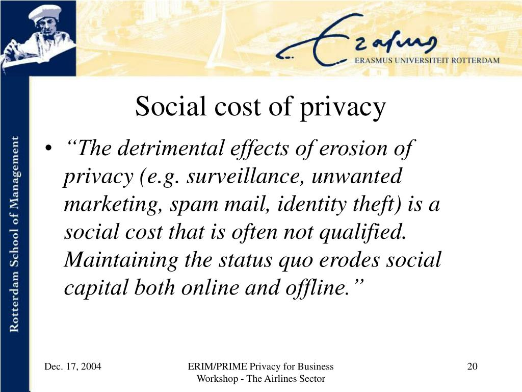 Social cost of privacy