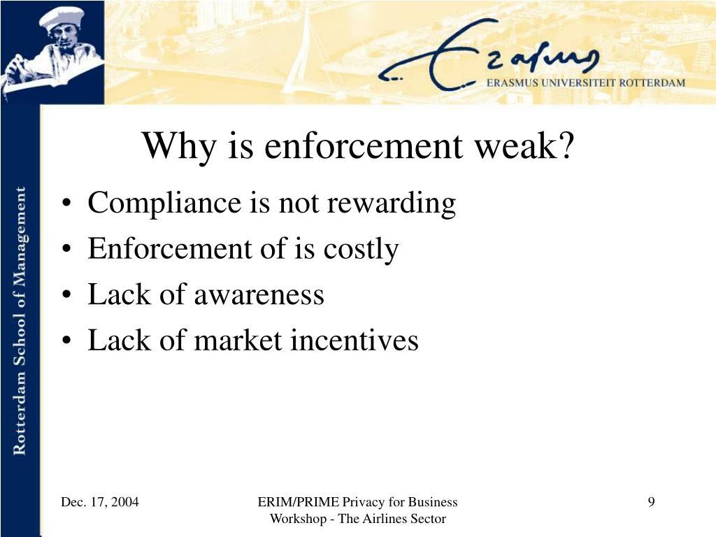 Why is enforcement weak?