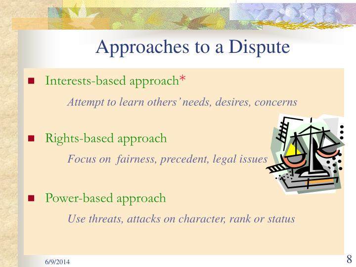 Approaches to a Dispute